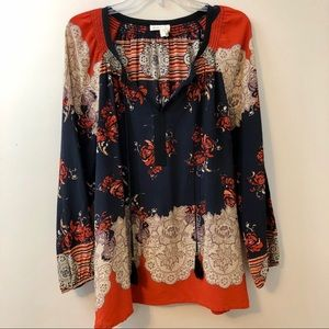 Anthropologie Meadow Rue Blossomed Silk Tunic